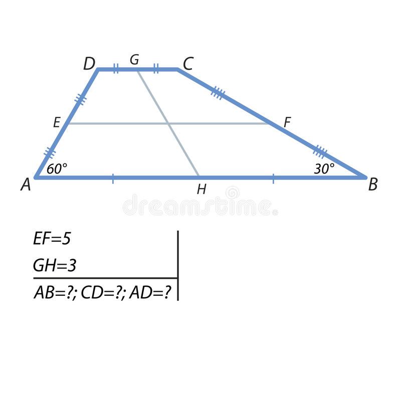 The task of finding a base and at the side of the trapezoid. The middle line of the trapezoid is equal to 5, and the segment connecting the middle of the base is stock illustration