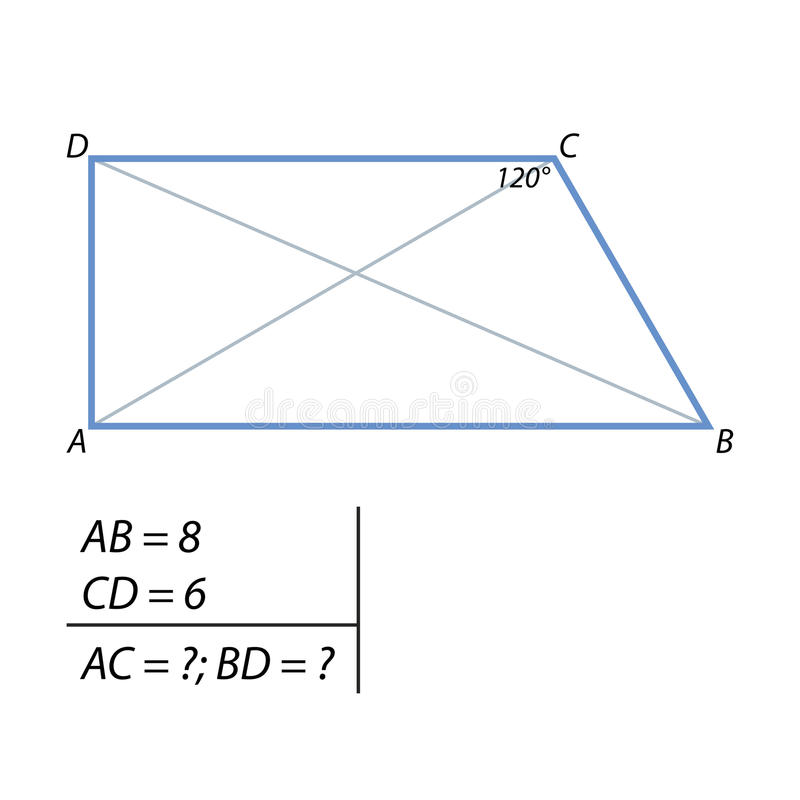 The task of finding the diagonals of the trapezium. Bases are rectangular trapezium 6 and 8. One of the corners at the smaller base equal to 120 degrees. Find stock illustration