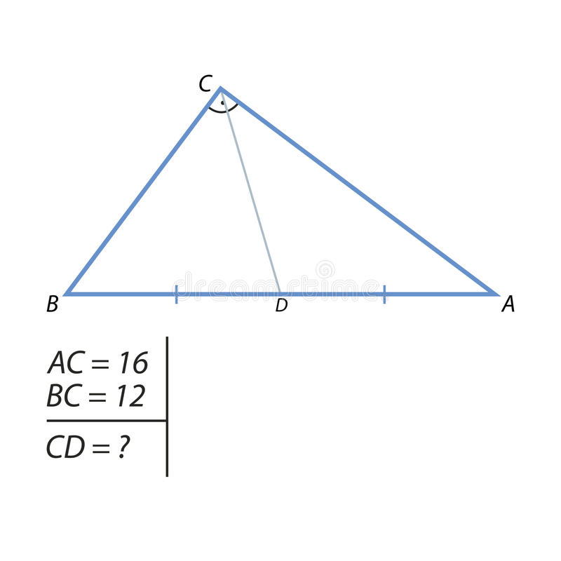The task of finding the hypotenuse and the second leg. One of the legs of a right triangle is equal to 15, and the projection of the second leg on the hypotenuse stock illustration