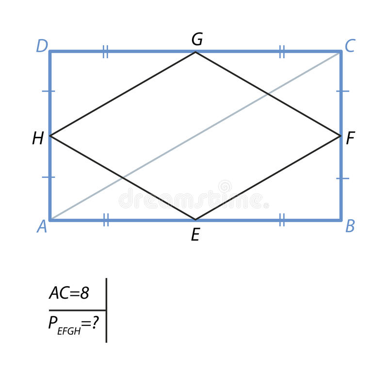 The task of finding the perimeter of a quadrilateral in a rectangle. Find the perimeter of a quadrilateral with vertices in the middle of the sides of a royalty free illustration