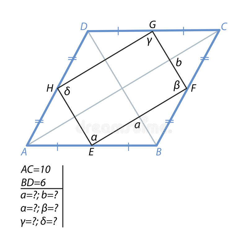 The task of finding a quadrilateral sides and angles in a rhombus. Find the sides and angles of a quadrilateral with vertices E in the middle of the sides of a stock illustration