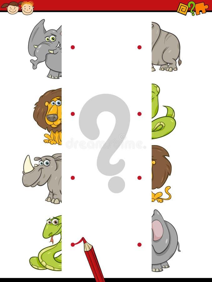 Task of halves for children vector illustration