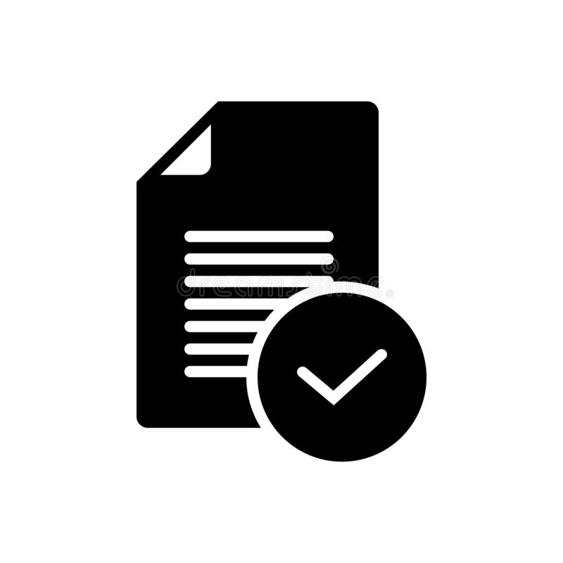 Black solid icon for Task, completed and done. Black solid icon for Task, finished, success,  completed and done vector illustration