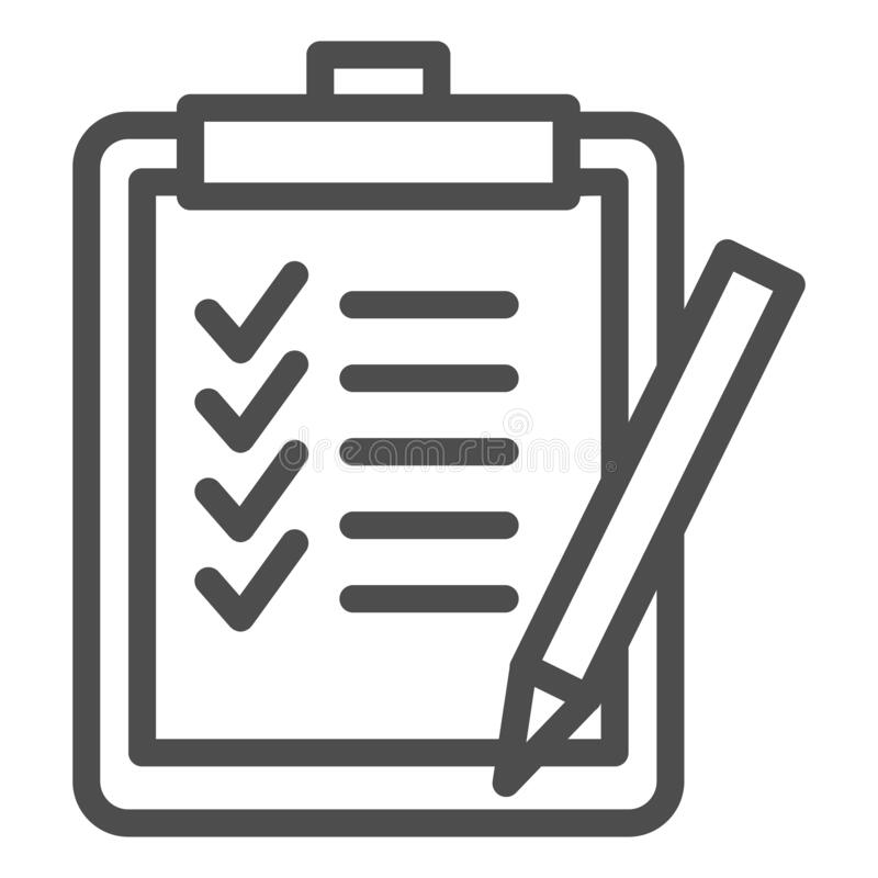 Task List Line Icon. Clipboard With Checklist Paper And Pen Symbol, Outline  Style Pictogram On White Background Stock Vector - Illustration of paper,  checkbox: 177979927