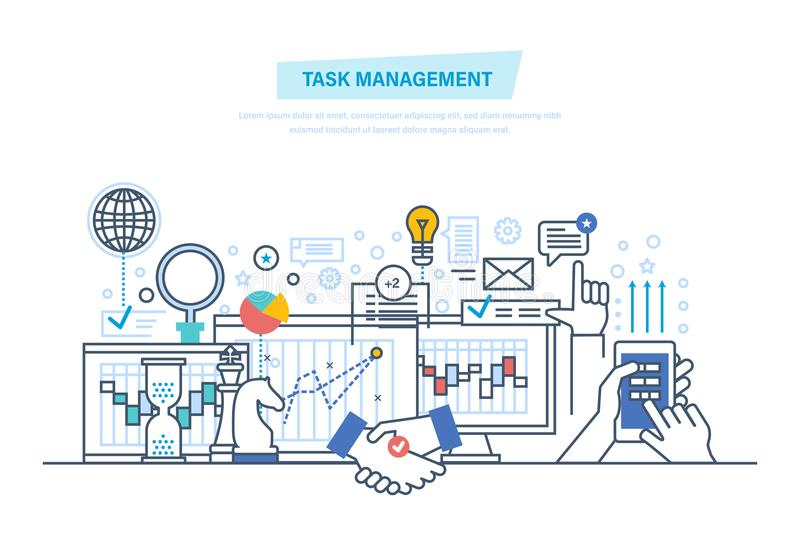 Task management, multitask. Time management, control. Analysis, research, marketing strategy. vector illustration