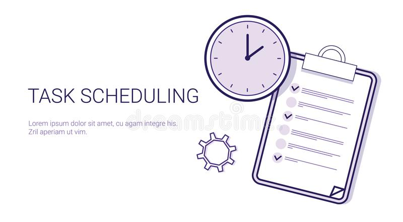 Task Scheduling Effective Planning Concept Time Management Template Web Banner With Copy Space royalty free illustration