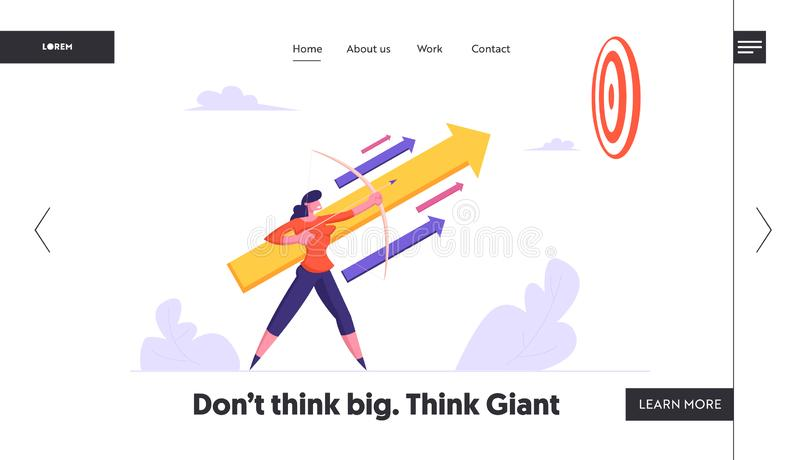 Task Solution Business Strategy Website Landing Page. Businesswoman Holding Bow Aiming Arrow royalty free illustration