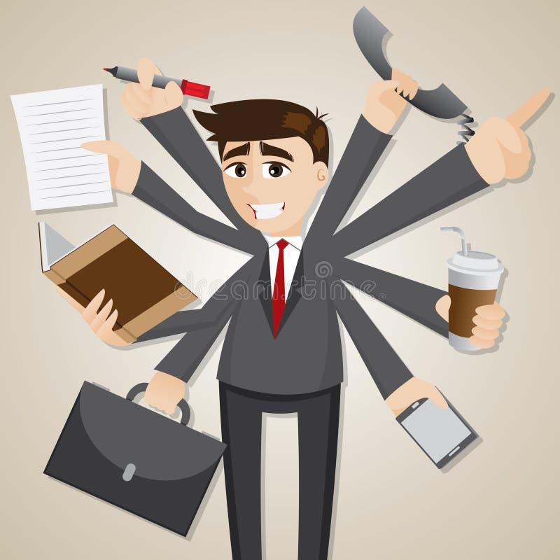 Tasking do homem de negócios dos desenhos animados multi ilustração do vetor