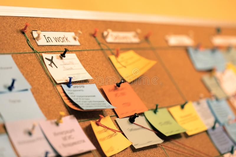 Tasks board use in agile methodology, scrum and project management during their software development. Tasks board use in agile methodology, scrum and project stock image