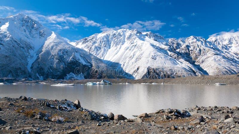 tasman冰川的湖 库存照片