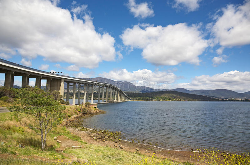The Tasman Bridge in Hobart royalty free stock image