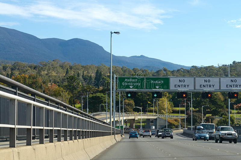 Tasman Bridge in Hobart. Traffic moving along the Tasman Bridge in Hobart, Tasmania royalty free stock photo