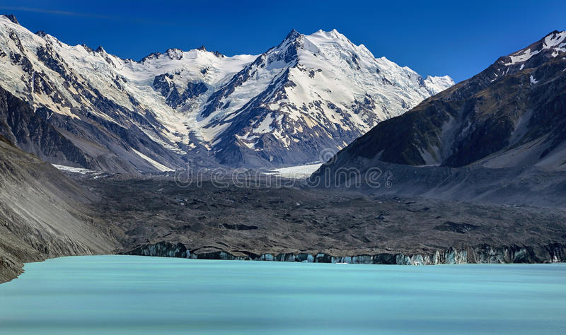 Tasman Lake with Tasman glacier, New Zealand royalty free stock photos