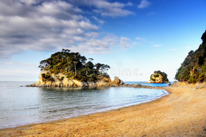 Tasman Sea Bay Beach. Tasman sea bay and beach. National Park, New Zealand royalty free stock photography
