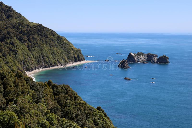 Tasman Sea from Knights Point Lookout, New Zealand stock photography