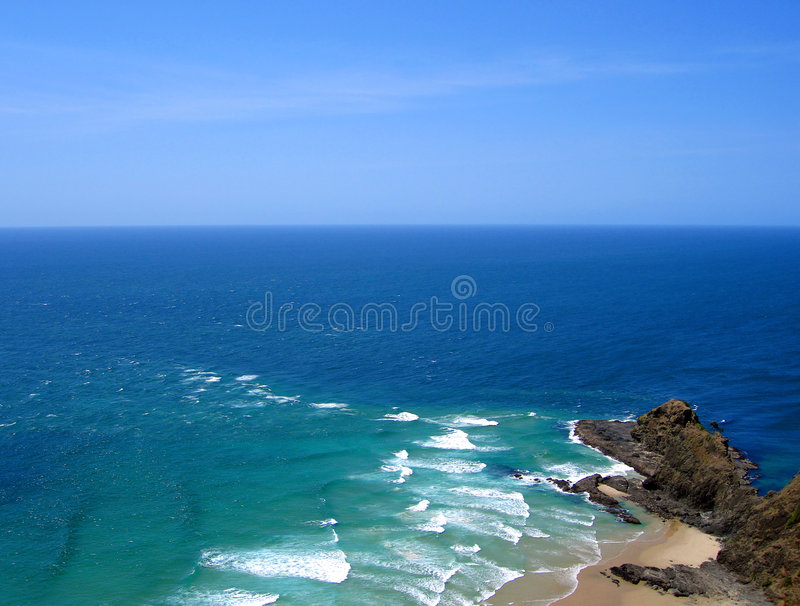 Tasman Sea meeting the Pacific Ocean, New Zealand. Tasman Sea meeting the Pacific Ocean, Cape Reinga, New Zealand. The leaping off place of spirits in Maori stock image