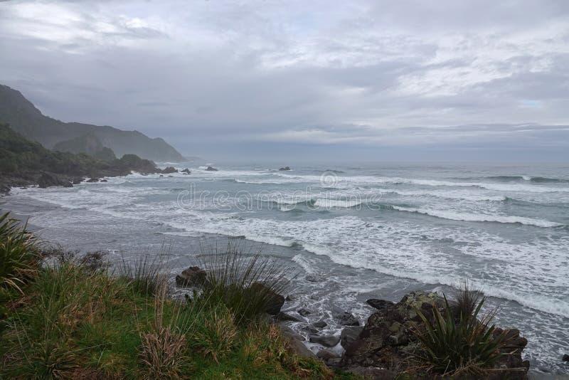 Tasman Sea waves on West Coast of New Zealand. Tasman Sea near Punakaiki on the way to Cape Foulwind on the West Coast of the South Island of New Zealand royalty free stock photos