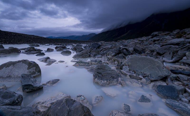 Tasman See ist ein proglacial See, der durch den neuen Rückzug des Tasman-Gletschers in Neuseeland gebildet wird lizenzfreies stockbild