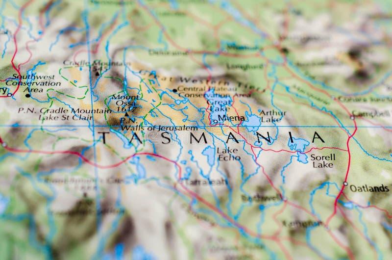 Tasmania en mapa imágenes de archivo libres de regalías