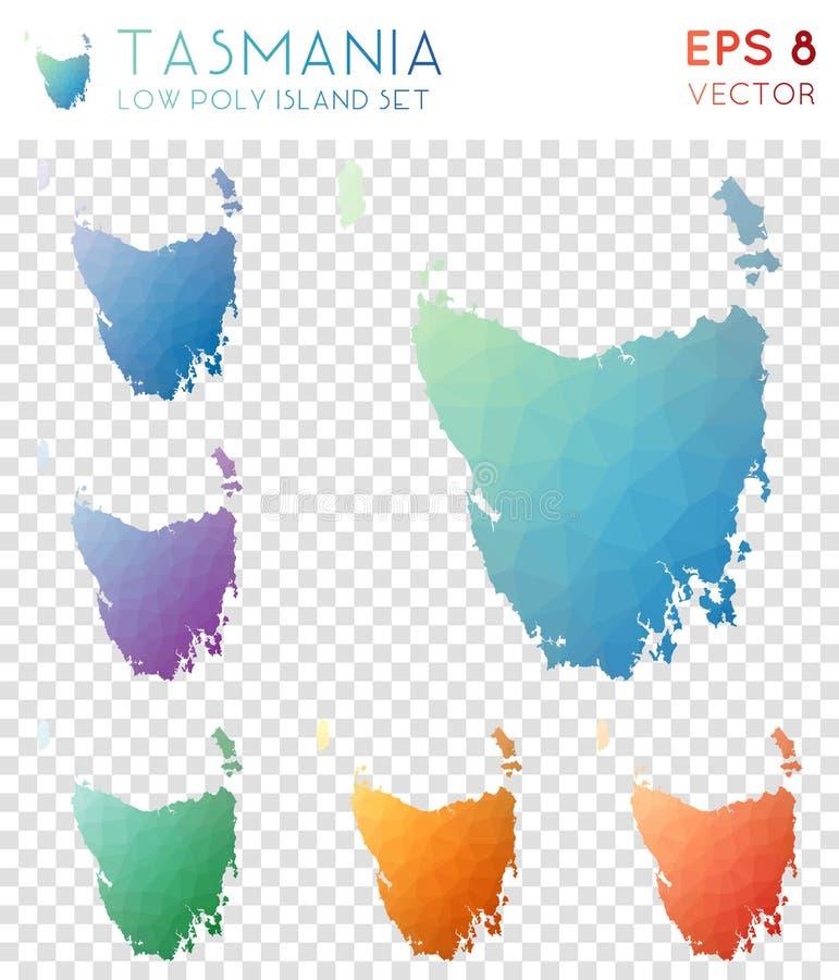 Tasmanien geometriska polygonal översikter, mosaikstil vektor illustrationer