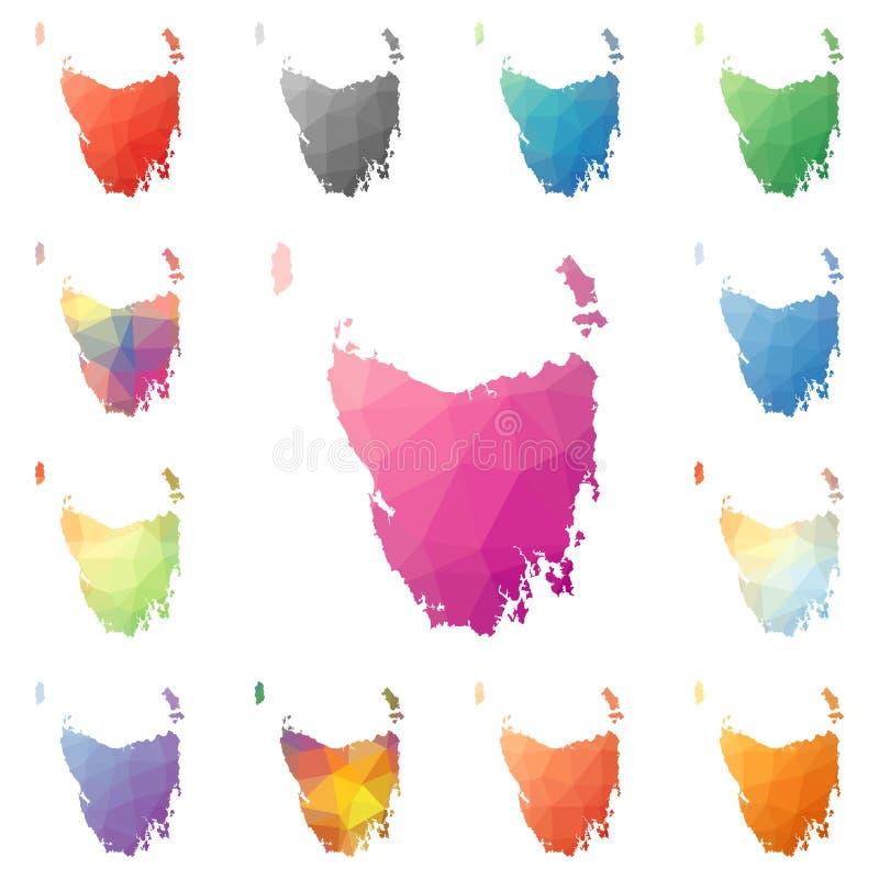 Tasmanien geometriskt polygonal, mosaikstilö vektor illustrationer