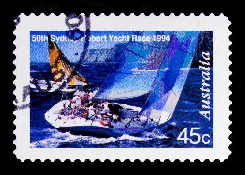 Tasmanien kust, Sydney till Hobart Yacht Race serie, circa 1994 royaltyfri fotografi