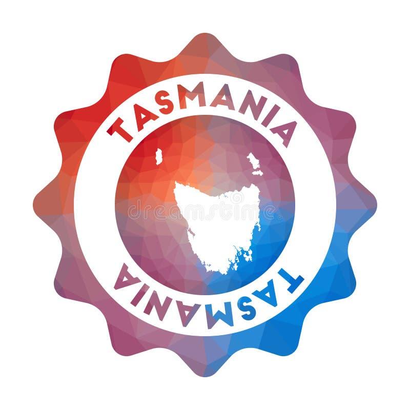 Tasmanien låg poly logo royaltyfri illustrationer