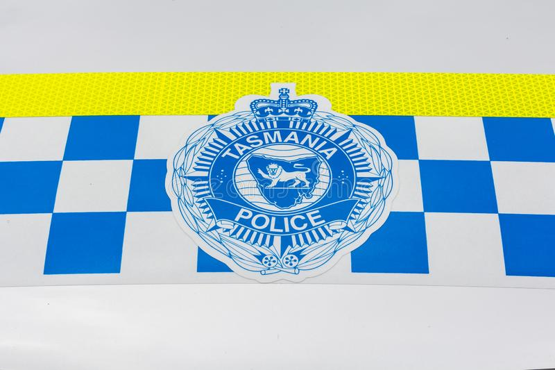 Tasmanien polisemblem arkivfoto