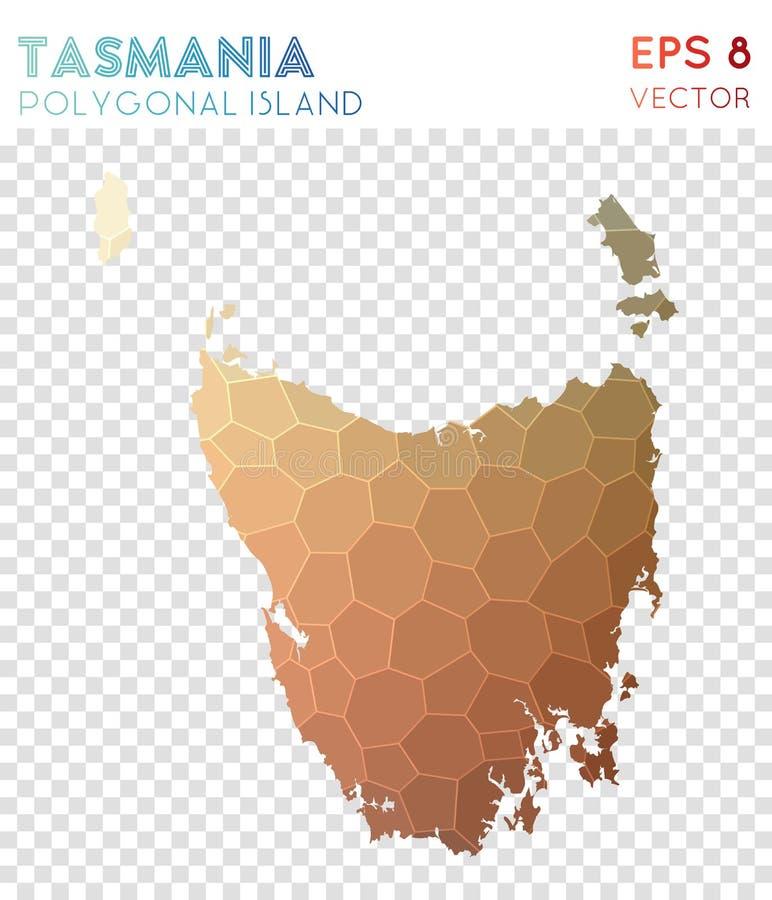 Tasmanien polygonal översikt, mosaikstilö stock illustrationer