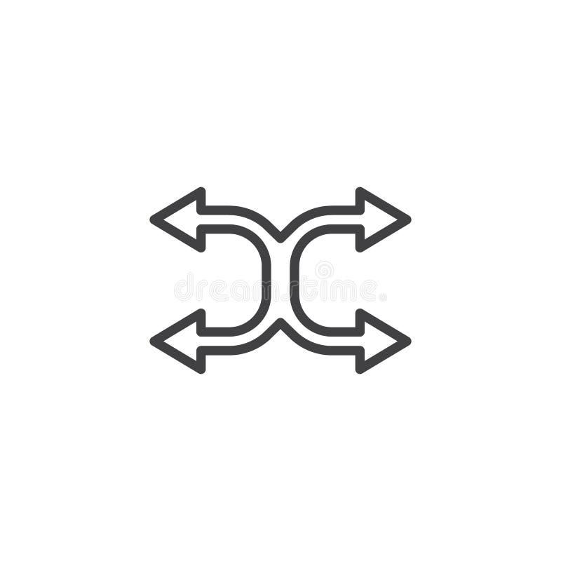 Tasowanie wyginająca się strzały kreskowa ikona ilustracja wektor