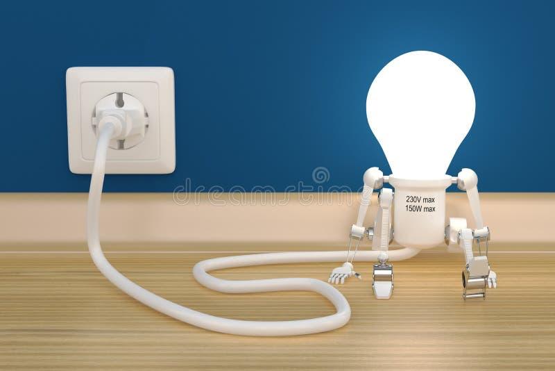 Tassa della lampada del robot del personaggio da sbocco elettrico royalty illustrazione gratis
