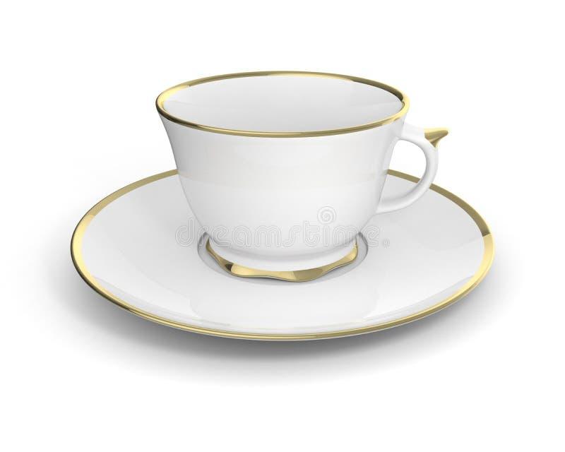 Tasse antique d'isolement de porcelaine avec de l'or sur le fond blanc illustration 3D illustration stock