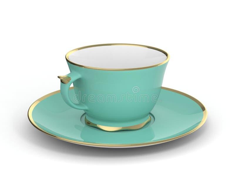 Tasse antique d'isolement de porcelaine avec de l'or sur le fond blanc illustration 3D photographie stock libre de droits