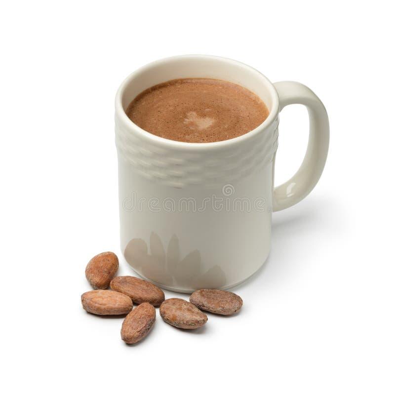 Tasse avec des graines de lait et de cacao de chocolat chaud photos libres de droits