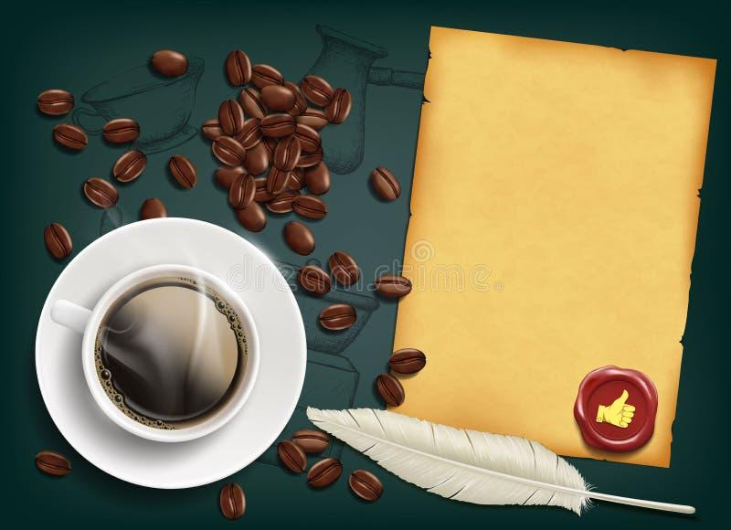 Tasse avec du café et des haricots illustration de vecteur