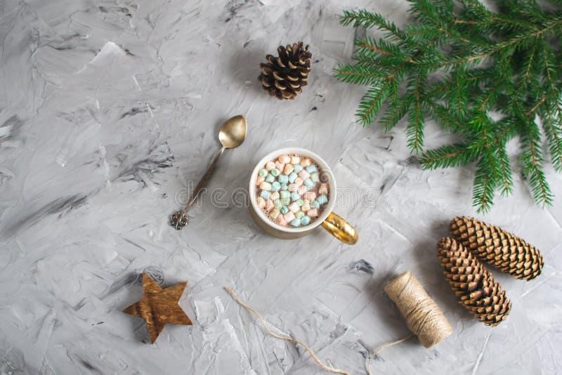 Tasse avec le cru naturel de concept de partie de nouvelle année de décor de décoration de boîte-cadeau de chocolat chaud et de N photographie stock