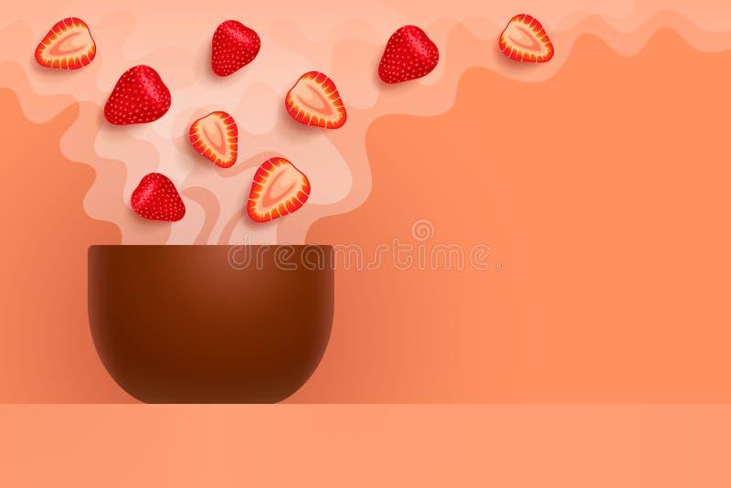 Tasse avec le thé aromatisé avec la fraise illustration libre de droits