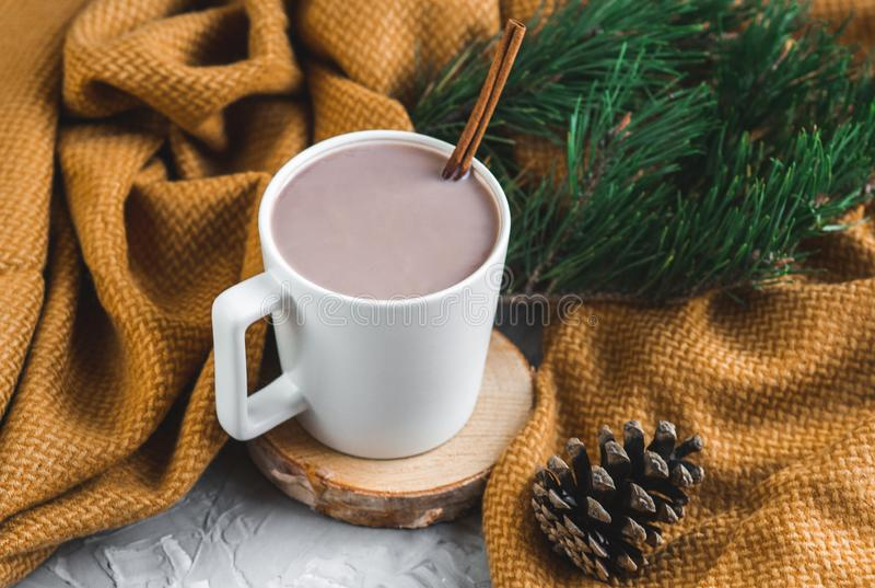 Tasse blanche de chocolat chaud, plaid jaune, cône, branche de pin, arbre de sapin, Gray Background, Autumn Concept, hiver, Cosin images libres de droits