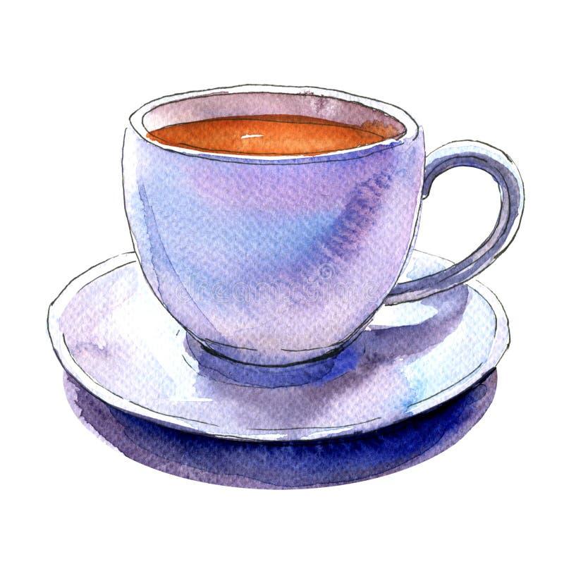 Tasse blanche de porcelaine du café et de la soucoupe d'isolement, illustration d'aquarelle illustration de vecteur