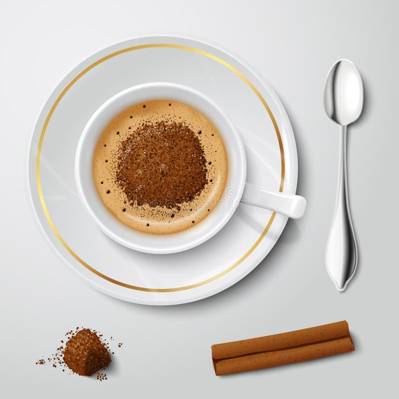 Tasse blanche réaliste avec le cappuccino illustration libre de droits
