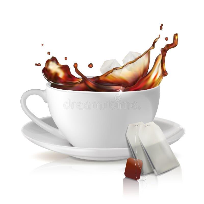 Tasse blanche sur une soucoupe Éclaboussure de thé de thé Un paquet de thé parfumé illustration libre de droits