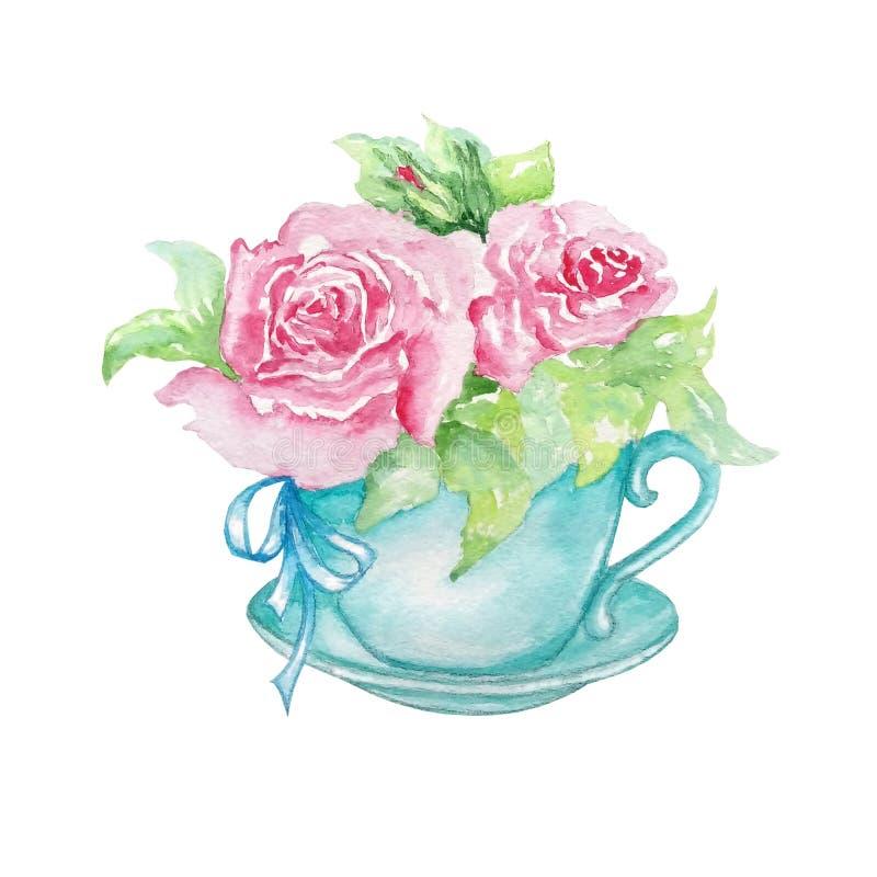 Tasse bleue d'aquarelle avec des roses illustration stock
