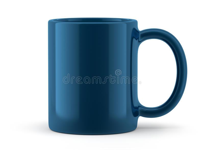 Tasse bleue d'isolement image stock
