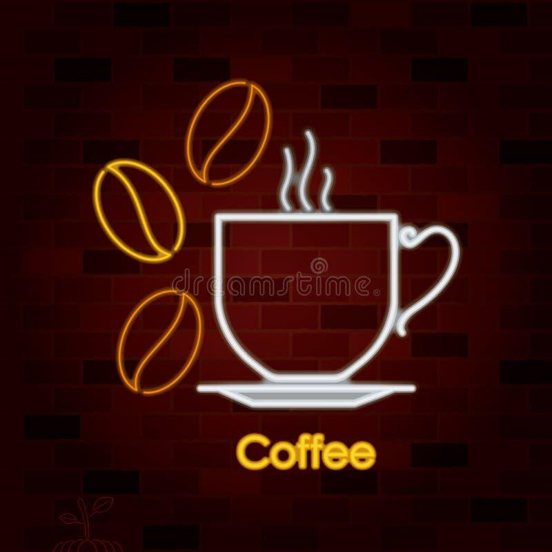 Tasse chaude de boissons de café sur le plat et grains de café dans l'enseigne au néon sur le mur de briques illustration de vecteur