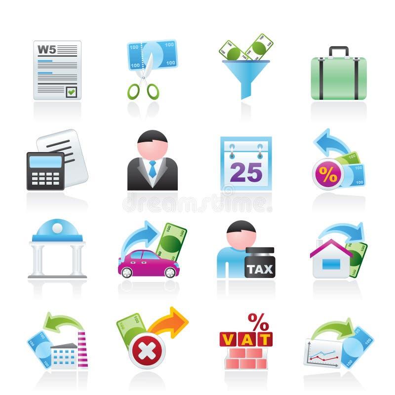 Tasse, commercio ed icone di finanze illustrazione vettoriale