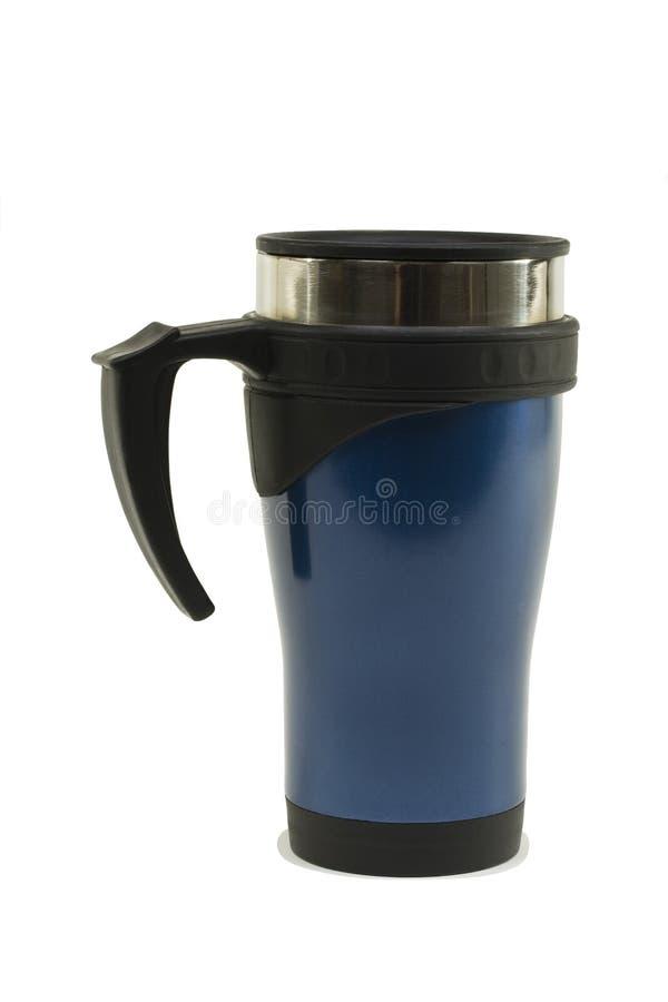 Tasse d'acier inoxydable peinte bleue image libre de droits