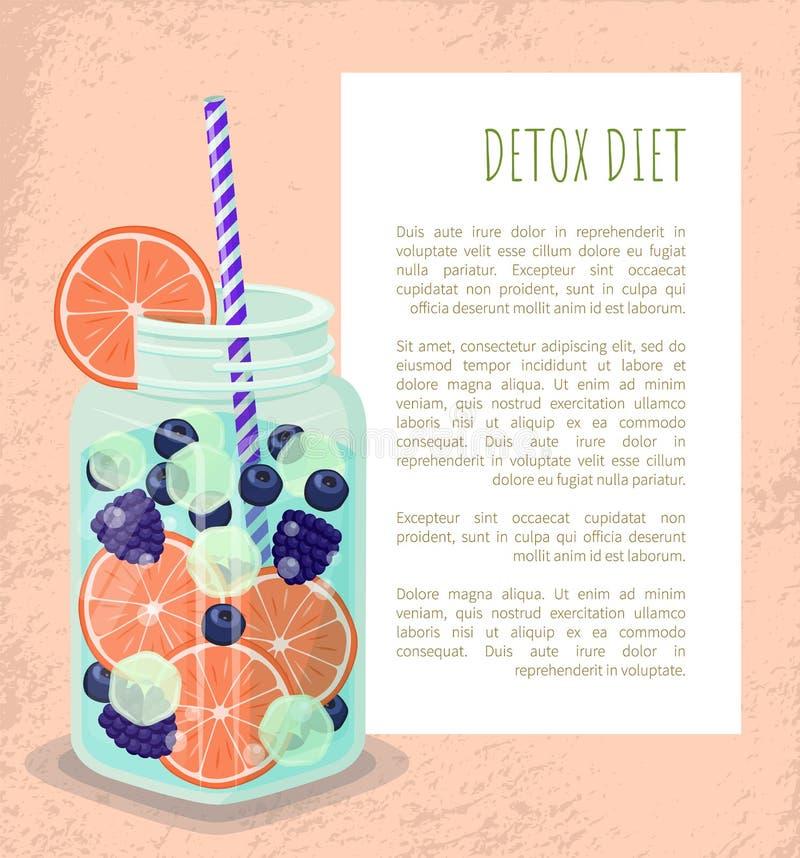 Tasse d'affiche de régime de Detox avec le vecteur régénérateur de boissons illustration libre de droits