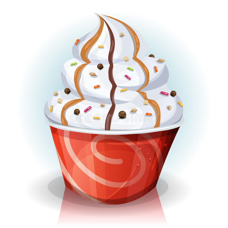 Tasse d'aliments de préparation rapide de crème glacée  illustration de vecteur