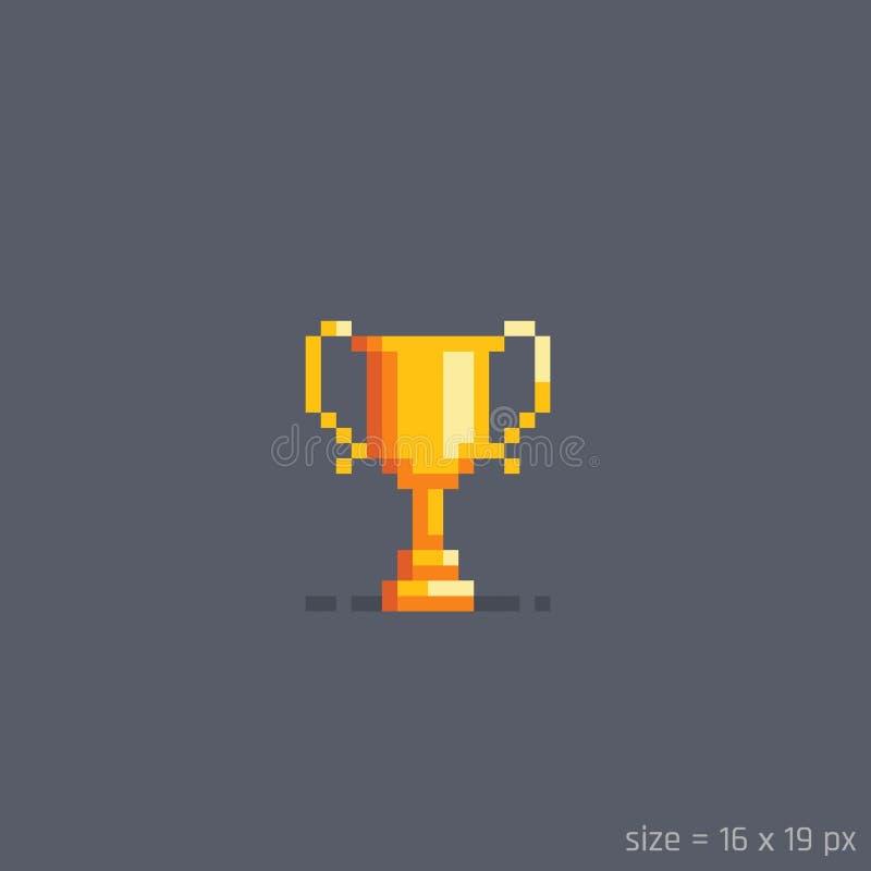 Tasse d'or de gagnant de pixel Illustration de vecteur illustration libre de droits