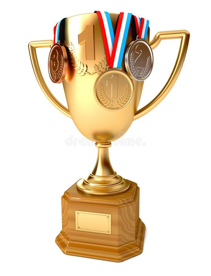 Tasse d'or du gagnant avec les médailles d'or, argentées et de bronze illustration de vecteur